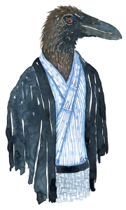 Raven bird dressed in an Asian, Japanese looking kimono. Fashion watercolor painting of animal in suit by Frits Ahlefeldt