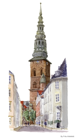 Church in Central København, Copenhagen Watercolor painting by Frits Ahlefeldt