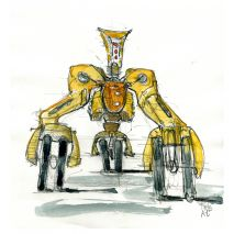 yellow robot with wheels