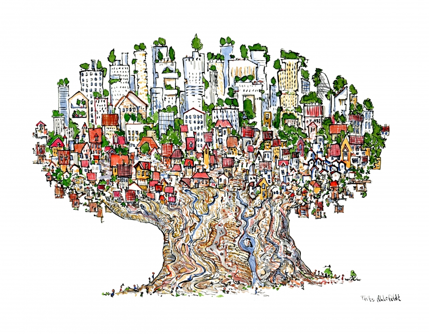 Drawing of a city in a tree
