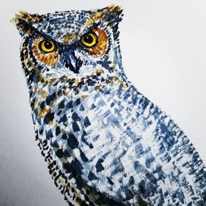 Owl watercolor by Frits Ahlefeldt