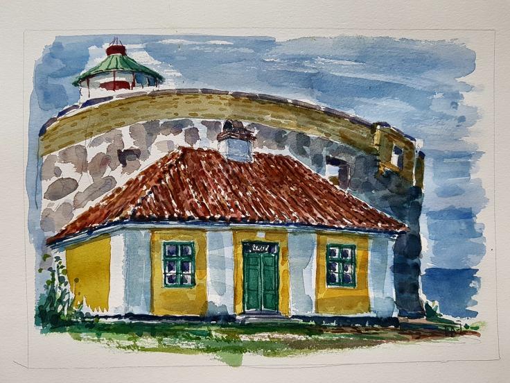 Watercolor of Storetaarn lighthouse on Ertholmene, By Frits Ahlefeldt