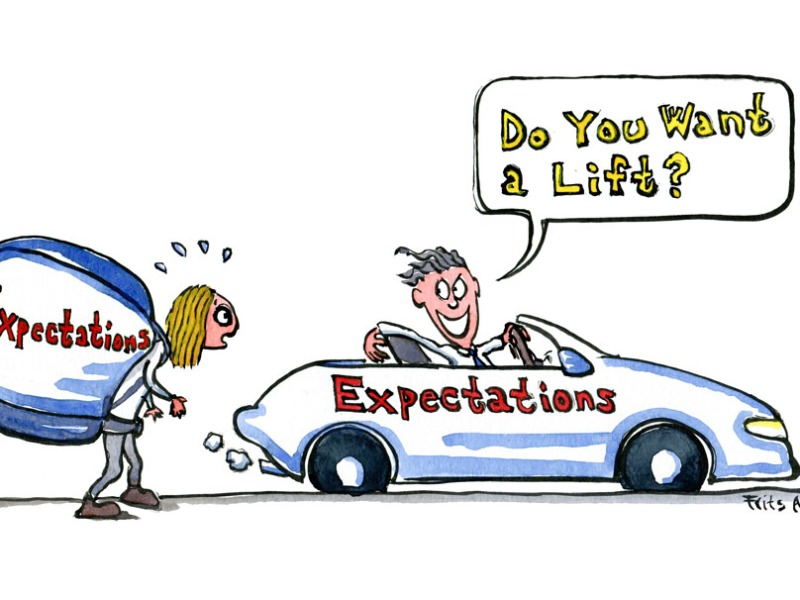 """Drawing of a hiking girl with a huge backpack with the word """"expectations"""" written on it. And a guy offering her a ride in a fancy car, with the word expectations written on it. Illustration by Frits Ahlefeldt"""