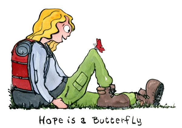 illustration of hiker sitting while a butterfly lands on her knee. hope is a butterfly text. art by Frits Ahlefeldt