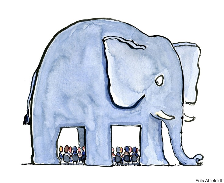 Drawing of an elephant room, (the elephant in the room saying)