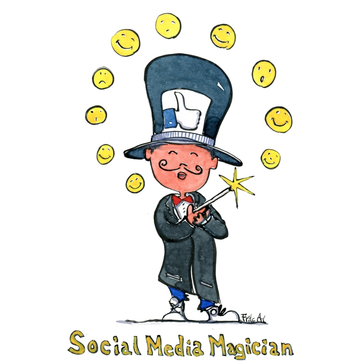 drawing of a social media magician