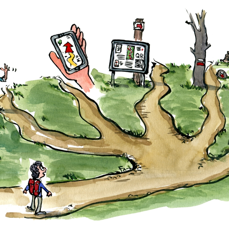 Drawing of several guidance systems that can be seen along hiking trails. With hiker. Drawing by Frits Ahlefeldt