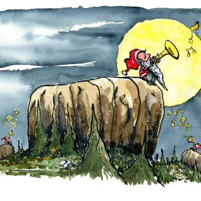 Drawing of small elf like nature spirits playing strange music under the Moon. illustration by Frits Ahlefeldt