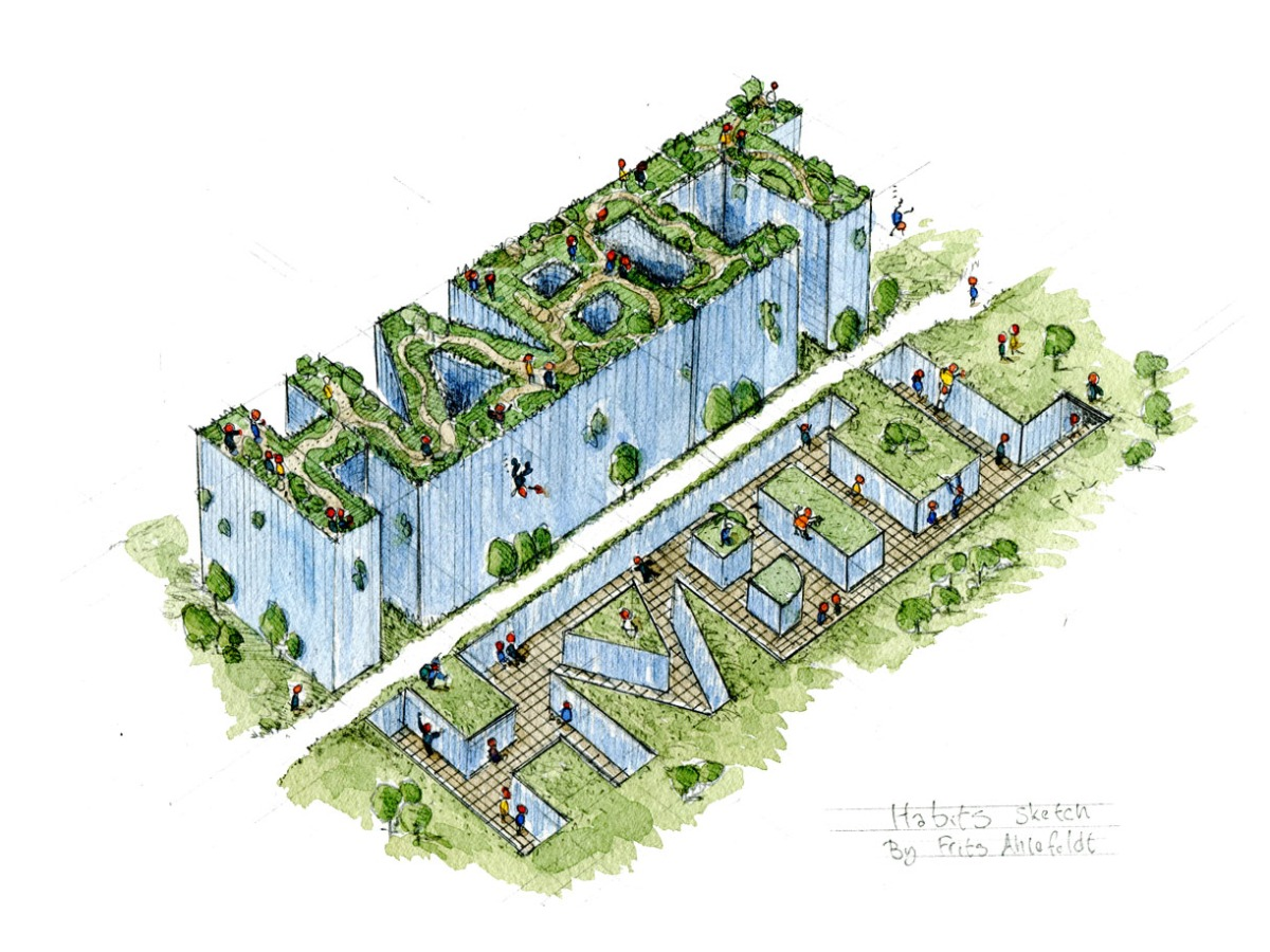 Sketch of the words HABIT created like a building, and a void, and with a path between them. Illustration by Frits Ahlefeldt