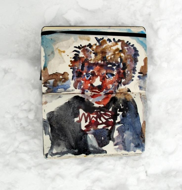 Drawing of a man in snow, moleskine sketchbook