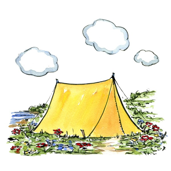 illustration of a yellow tent