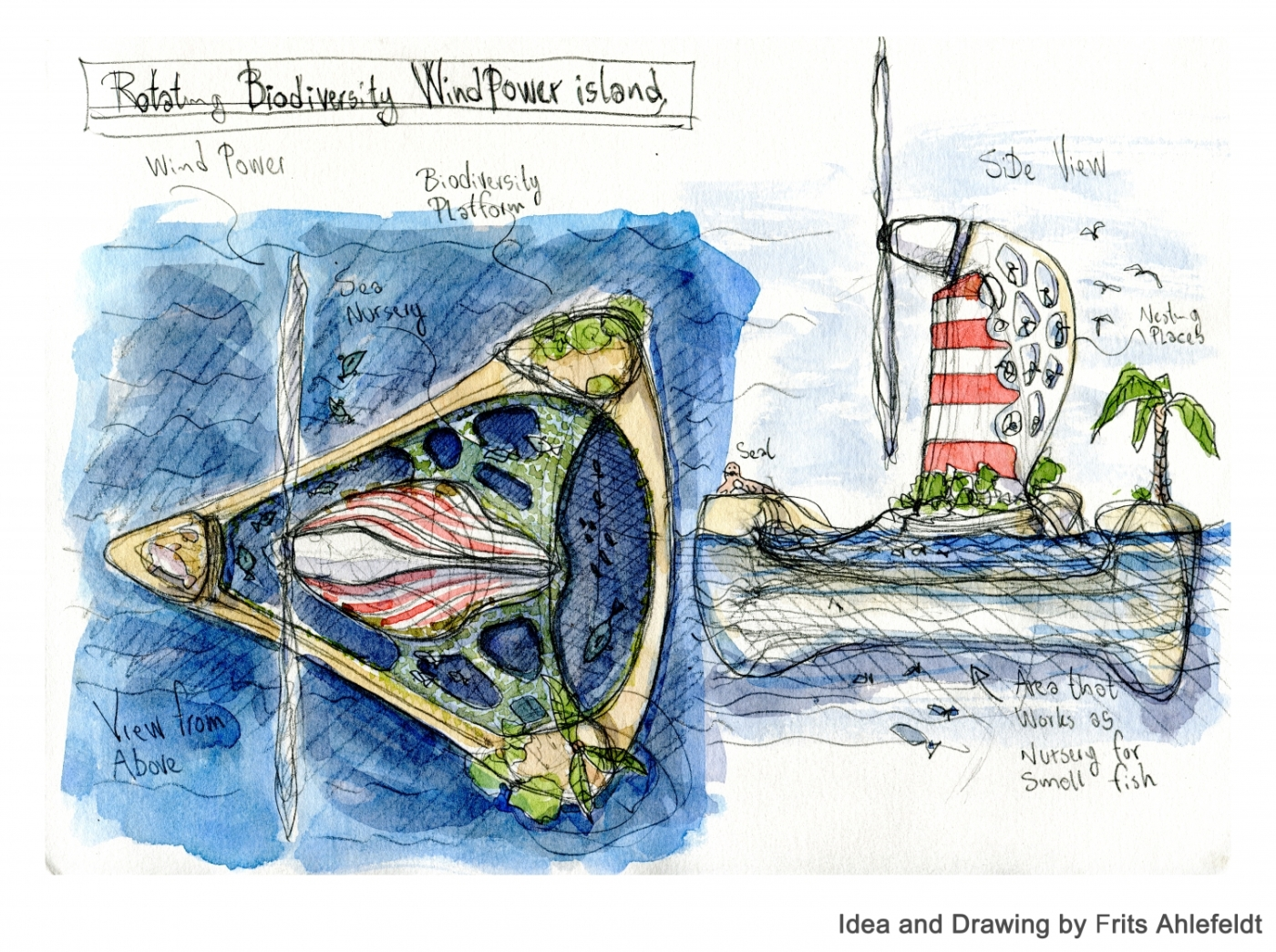 Sketch for a lagoon shaped off-shore wind turbine maximizing biodiversity