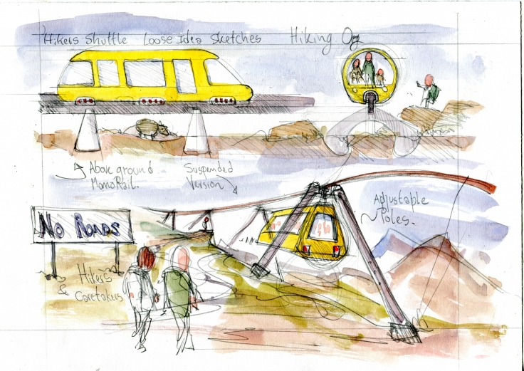 Drawing of mountain cable public transport systems