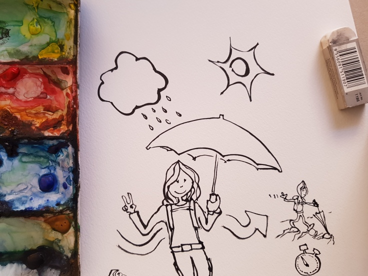 Girl with an umbrella, hiking and smiling, ink drawing by Frits Ahlefeldt