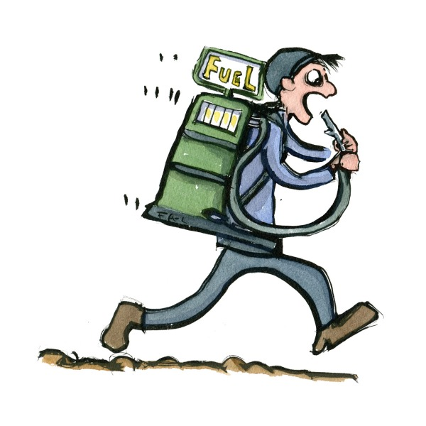 hiker walking with a fuel food station along on the hike on his back. Illustration by Frits Ahlefeldt