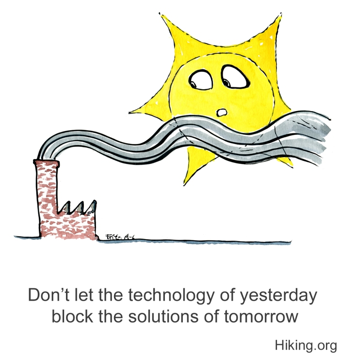 Factory chimney with smoke blocking the sun of tomorrow illustration by Frits Ahlefeldt