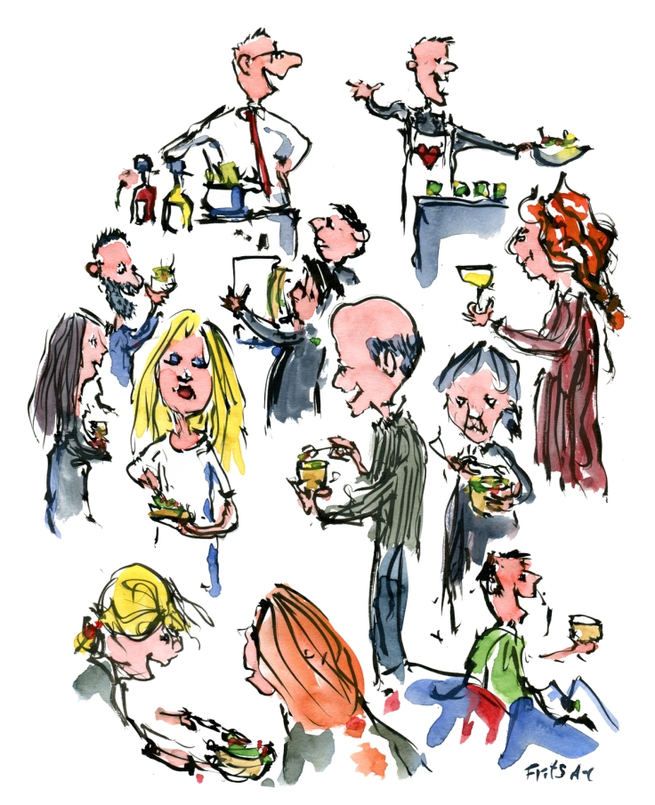 drawing of people celebrating food together