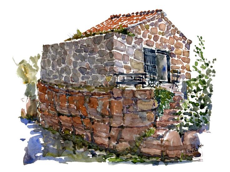 Watercolor of small granite stone cottage on Ertholmene ( Christiansoe )