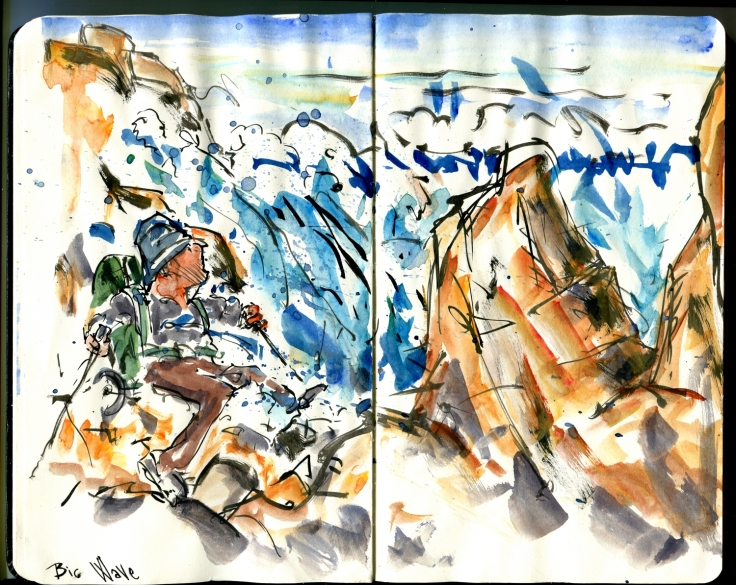 Drawing of a coastal hikers in rocks, with huge waves passing by