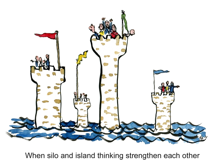 Silo and island thinking combined to group think in small isolated towers far out at sea