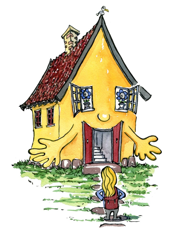illustration of house embracing hiker, welcoming home. by Frits Ahlefeldt