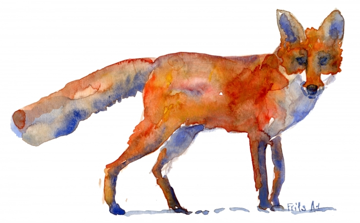 Fox Watercolor sideview