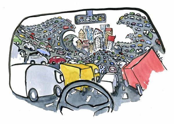 drawing of a lot of cars, seen from the driving seat