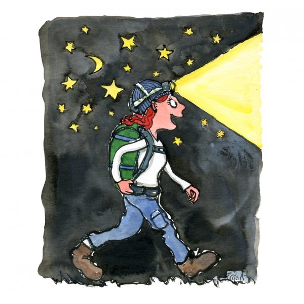 Woman walking with headlamp at night drawing