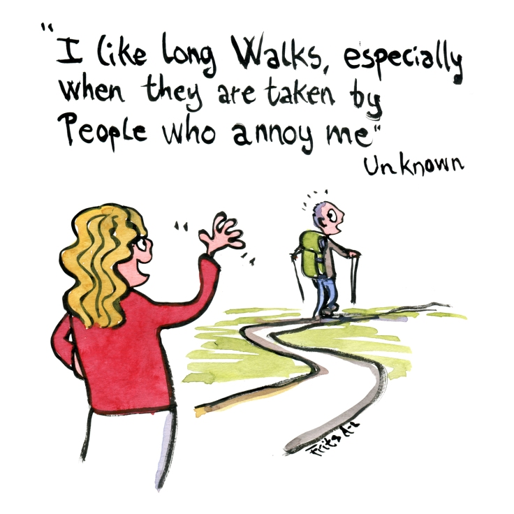 I like long walks especially when they are taken by people who annoy me - quote by fred allen, illustration by frits ahlefeldt