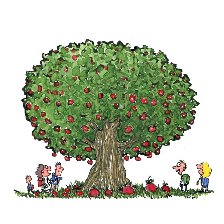 When nature provides free lunch - Hikers by a apple tree with plenty of apples illustration by Frits Ahlefeldt
