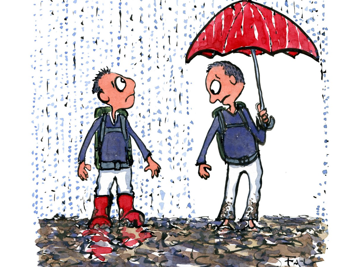 Two hikers in the rain, one with an umbrella the other with boots. Each seeing what he miss. Illustration by Frits Ahlefeldt