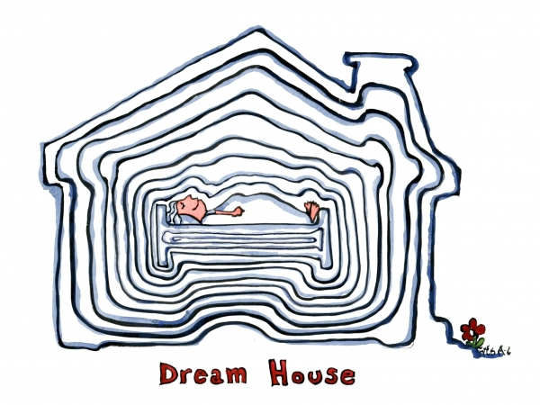 drawing of a man dreaming his dreamhouse