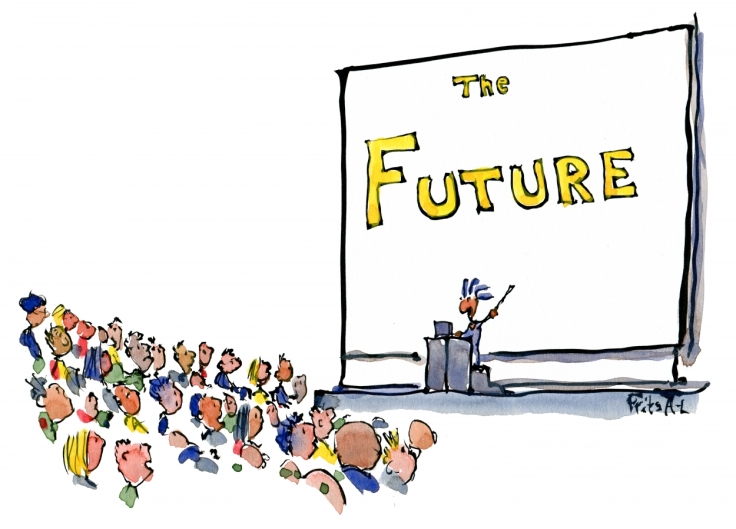 drawing of powerpoint presentation about the future