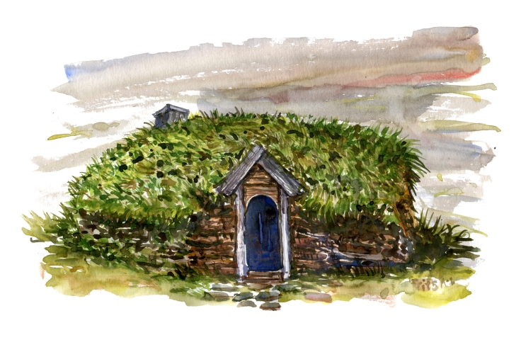 drawing of a small hut with grass roof