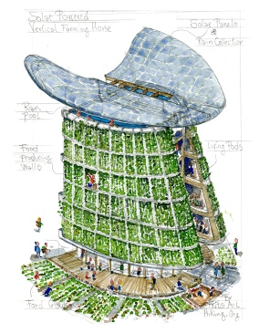 concept drawing of an extreme green building with solar power, rain water collection and vertical wall gardens