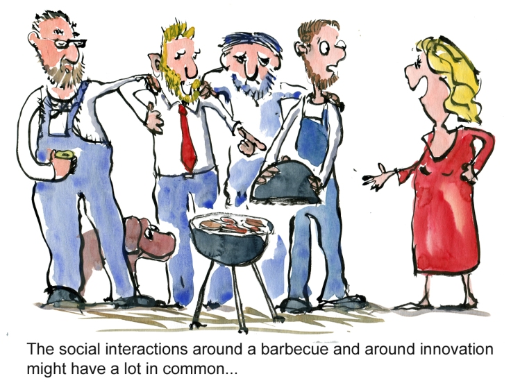Barbecue psychology and interaction, people around discussing with a new person entering and questioning the way things are traditionally done