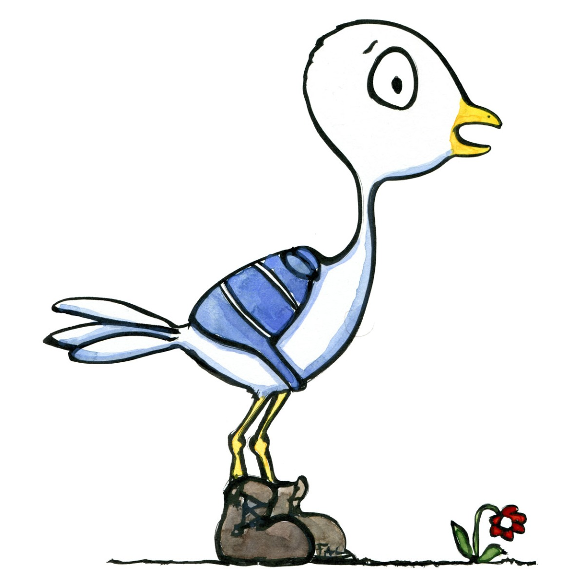 Illustration of a bird with a backpack and boots, drawing by Frits Ahlefeldt