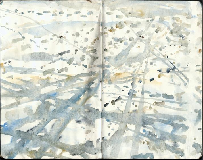 Moleskine sketch of footsteps in the snow