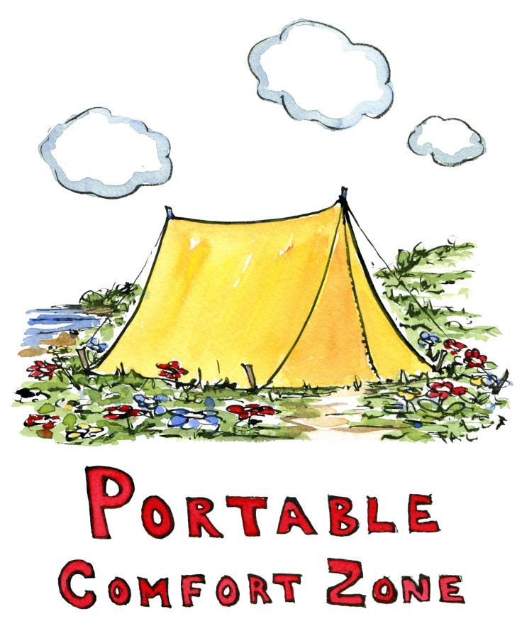 "illustration of yellow tent and the word ""comfort zone. Drawing by Frits Ahlefeldt"
