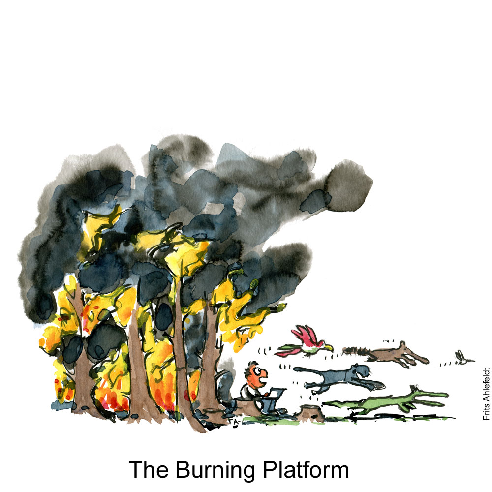 Drawing of a guy with a laptop sitting at the edge of a burning forest while animals a fleeing all around him. Illustration by Frits Ahlefeldt