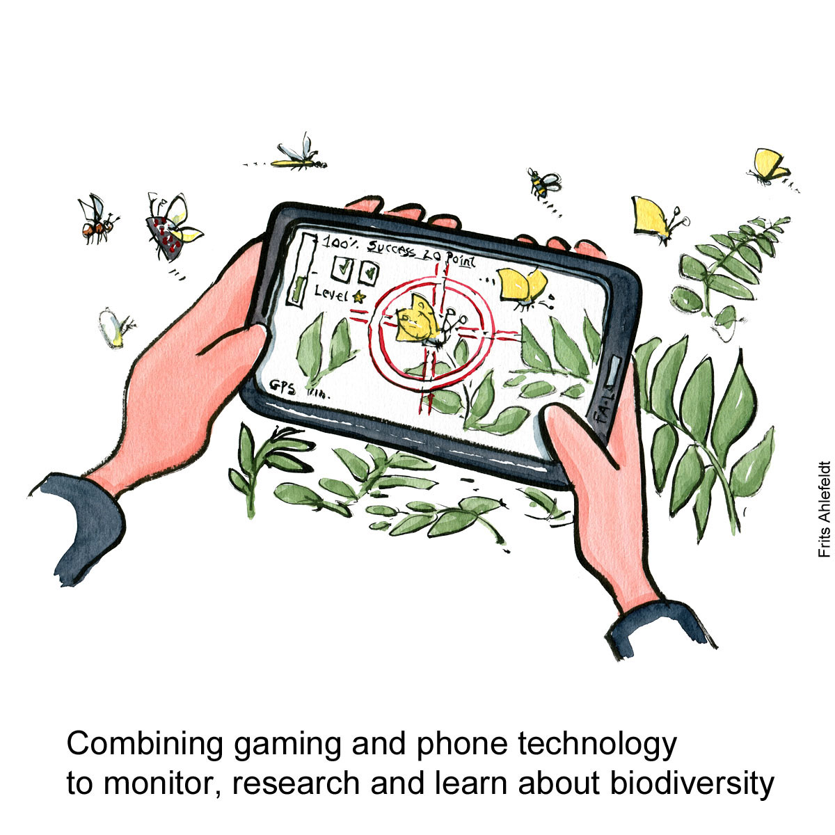 Drawing of a hand holding a phone with an app game that captures biodiversity, a bit like pokemon go. Environment drawing by Frits Ahlefeldt