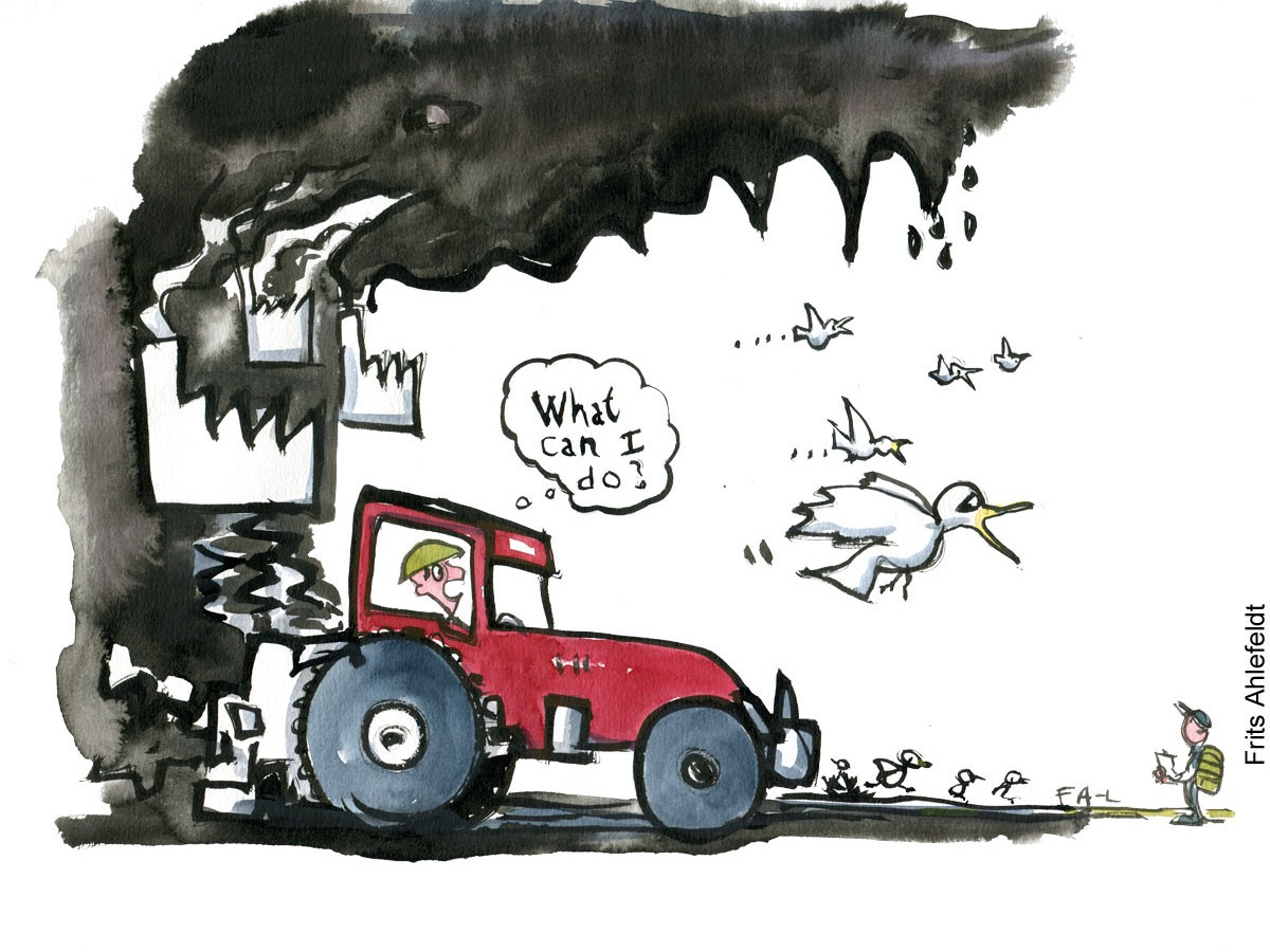 """Drawing of a farmer in a red tractor thinking """"what can I do?"""" while birds flee and factories darken the sky. A hiker in the corner. Illustration by Frits Ahlefeldt"""