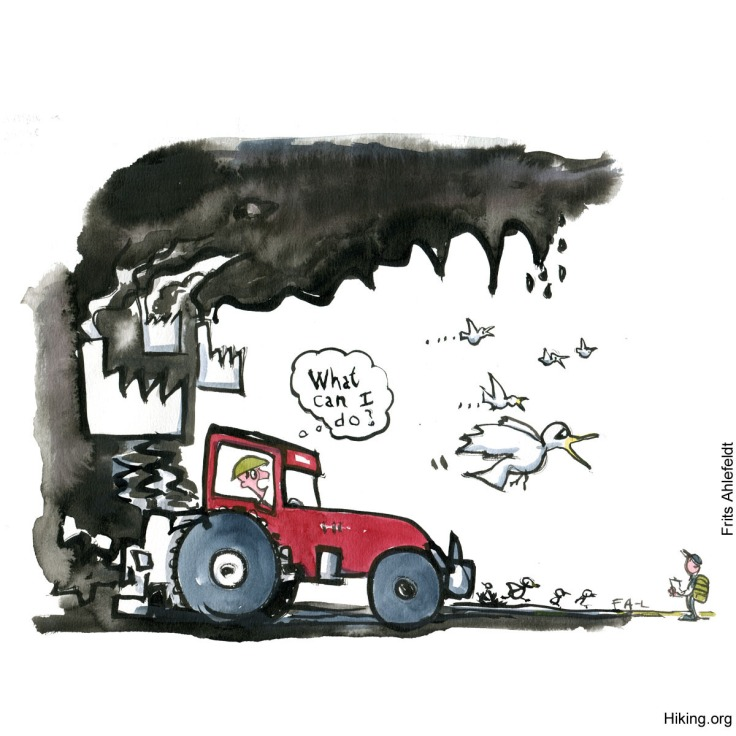 "Drawing of a farmer in a red tractor thinking ""what can I do?"" while birds flee and factories darken the sky. A hiker in the corner. Illustration by Frits Ahlefeldt"