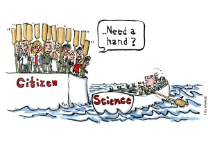 """drawing of a Scientist sitting in a boat with just one ore, citizens on the shore ask him """"need a hand"""" illustration by Frits Ahlefeldt"""