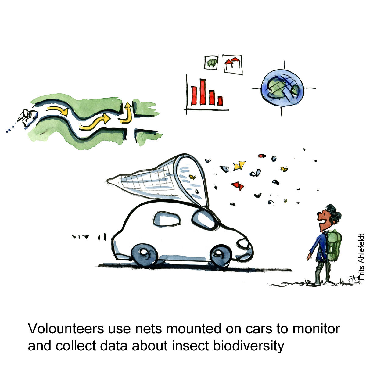 Drawing of a car with a net on the roof, driving around and collecting insects. Citizen science drawing by Frits Ahlefeldt