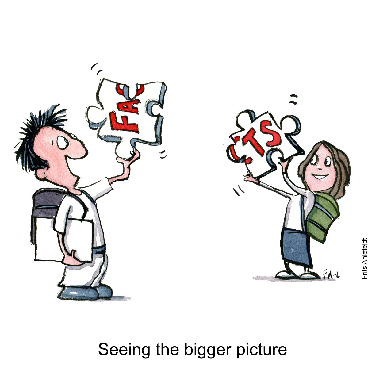"""Drawing of two young people putting to huge puzzle pieces together, spelling """"facts"""" Illustration by Frits Ahlefeldt"""