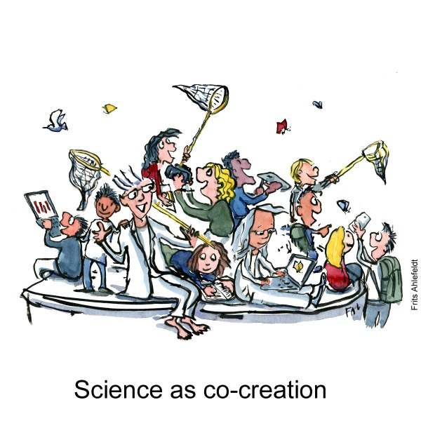 Drawing of a group of people, citizens, scientists, volunteers, sitting on a platform, creating innovation and knowledge together. Psychology drawing by Frits Ahlefeldt
