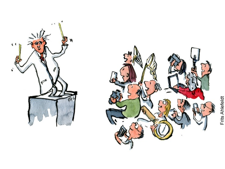 drawing of a scientist on a podium, looking at volunteers as their conductor. Psychology illustration by Frits Ahlefeldt