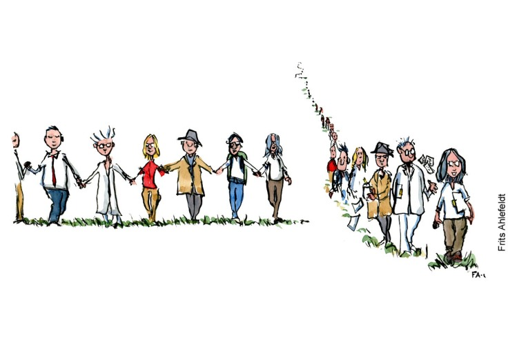 Drawing of a group of people holding hands making a search chain, and the same people making a line, walking after each other. Community illustration by Frits Ahlefeldt