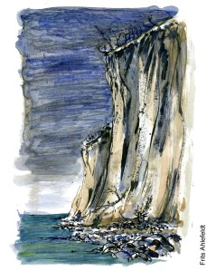 Watercolor and ink sketch of tall white chalk cliffs on the island of Moen (Møn) in Denmark. Illustration by Frits Ahlefeldt